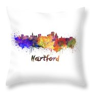 Hartford Skyline In Watercolor Throw Pillow