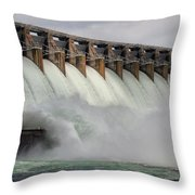 Hartwell Dam With Flood Gates Open Throw Pillow