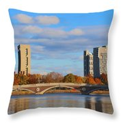 Harvard Towers Over The Charles Throw Pillow