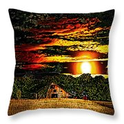 Harvest Moon And Late Barn Throw Pillow