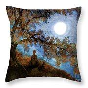 Harvest Moon Meditation Throw Pillow