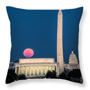 Harvest Moon Over Lincoln Memorial Throw Pillow