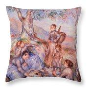 Harvesters Breakfast Throw Pillow by Pierre-Auguste Renoir