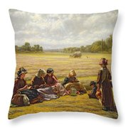 Harvesters Resting In The Sun, Berkshire, 1865 Oil On Canvas Throw Pillow