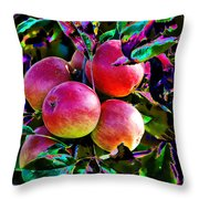 Harvesting Apples Throw Pillow