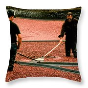 Harvesting Cranberries Throw Pillow