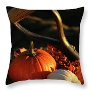 Harvesting For Thanksgiving Throw Pillow by Sandra Cunningham