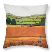 Harvesting In The Cotswolds Throw Pillow