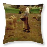 Harvesting Potatoes Oil On Canvas Throw Pillow