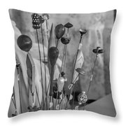 Hat Pins Black And White Throw Pillow