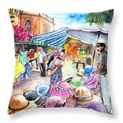 Hat Shopping At Turre Market Throw Pillow