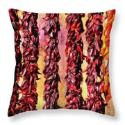 Hatch Red Chili Ristras Throw Pillow