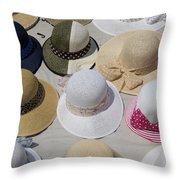 Hats For Sale Next To Marina, Lerici Throw Pillow