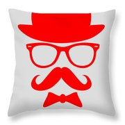 Hats Glasses And Mustache Poster 3 Throw Pillow by Naxart Studio