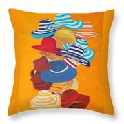 Hats Off Throw Pillow by Deborah Boyd