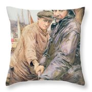 Hauling In The Net Throw Pillow by Henry Meynell Rheam