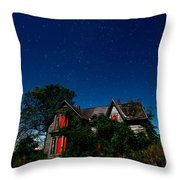 Haunted Farmhouse At Night Throw Pillow