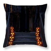 Haunted House With Lit Pumpkins And Demon Throw Pillow