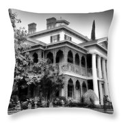 Haunted Mansion New Orleans Disneyland Bw Throw Pillow
