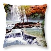 Havasau Falls Painting Throw Pillow