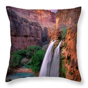 Havasu Falls Throw Pillow by Inge Johnsson