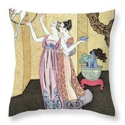 Have You Had A Good Dinner Jacquot? Throw Pillow by Georges Barbier