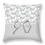 Having A Whale Of A Time Throw Pillow by Debra  Miller
