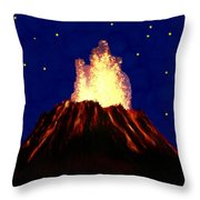 Hawaian Vulcano At Night Throw Pillow