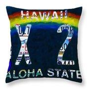 Hawaii License Plate Throw Pillow