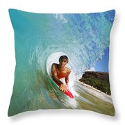 Hawaii, Maui, Makena - Big Beach, Boogie Boarder Riding Barrel Of Beautiful Wave Along Shore. Throw Pillow