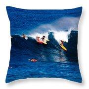 Hawaii Oahu Waimea Bay Surfers Throw Pillow by Anonymous