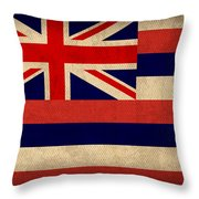 Hawaii State Flag Art On Worn Canvas Throw Pillow