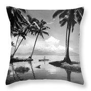 Hawaii Tropical Scene Throw Pillow