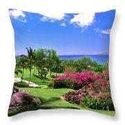 Hawaii Wailea Gold Course Golf Course Panorama 2 Throw Pillow