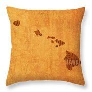 Hawaii Word Art State Map On Canvas Throw Pillow