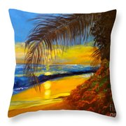 Hawaiian Coastal Sunset Throw Pillow