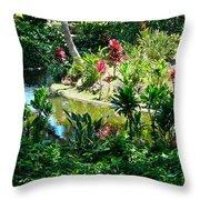 Hawaiian Cultural Garden Honolulu Airport Throw Pillow