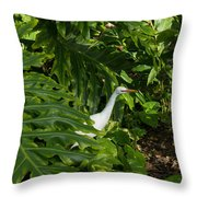 Hawaiian Garden Visitor - A Bright White Egret In The Lush Greenery Throw Pillow