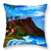 Hawaiian Homestead At Diamond Head Throw Pillow