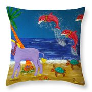 Hawaiian Lei Parade Throw Pillow