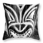 Hawaiian Mask Negative Black And White Throw Pillow