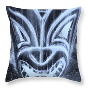 Hawaiian Mask Negative Cyan Throw Pillow