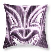 Hawaiian Mask Negative Pink Throw Pillow