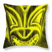 Hawaiian Mask Negative Yellow Throw Pillow