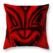 Hawaiian Red Mask Throw Pillow