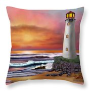 Hawaiian Sunset Lighthouse Throw Pillow