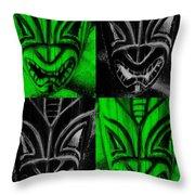 Hawaiian Masks Black Green Throw Pillow