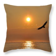 Hawk At Sunrise Throw Pillow