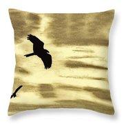 Hawks - At - Sunset Throw Pillow