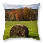 Hay Bale In Country Field Throw Pillow